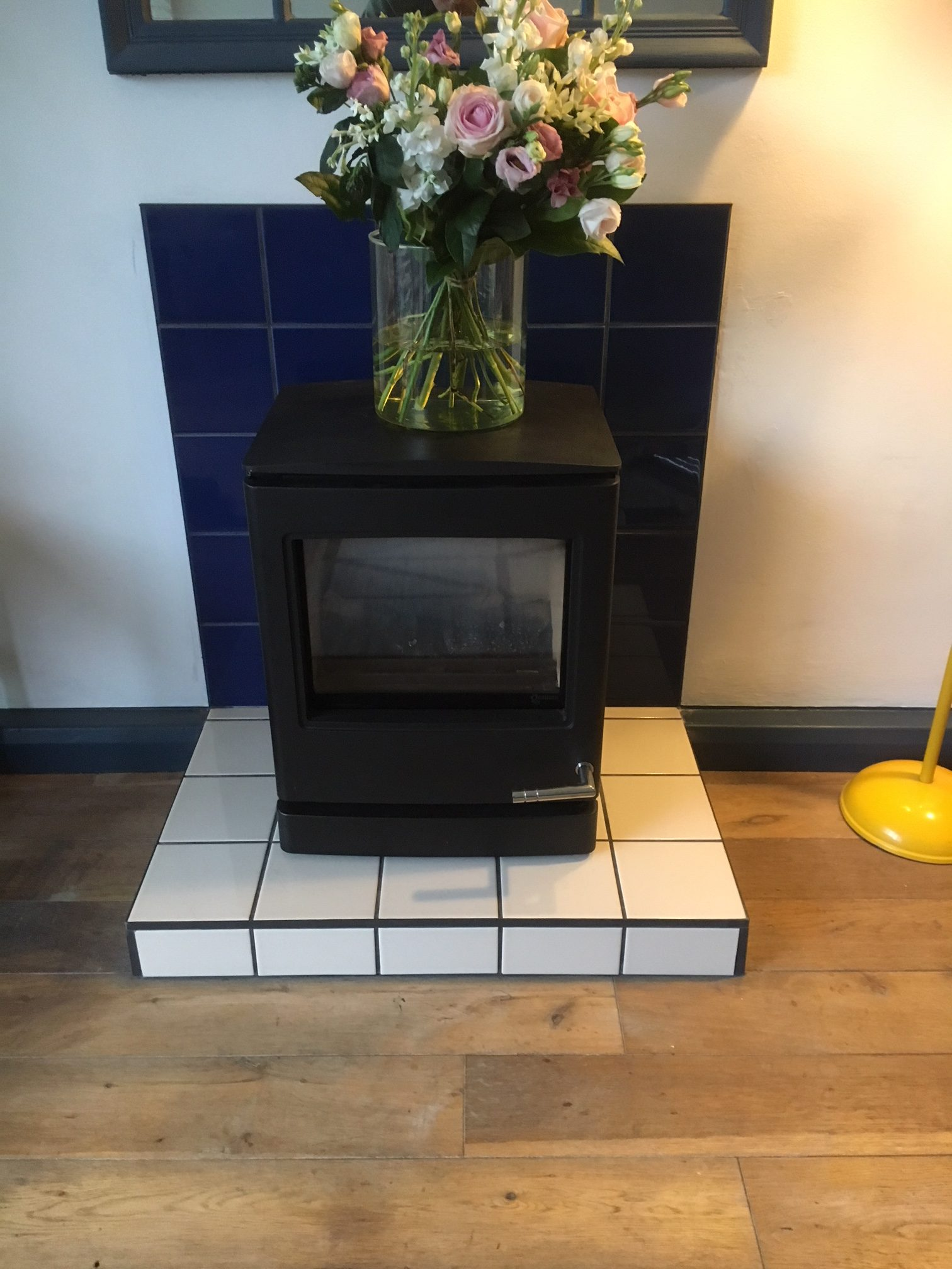 stove installed in living room